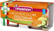 Plasmon - Пюре от моркови с картофи и тиквички - Опаковка от 2 х 80 g за бебета над 4 месеца - пюре