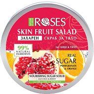 Nature of Agiva Roses Fruit Salad Nourishing Sugar Scrub - Захарен скраб за лице и тяло със сок от нар и портокал - душ гел