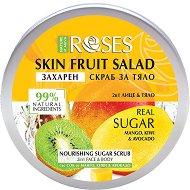 Nature of Agiva Roses Fruit Salad Nourishing Sugar Scrub - Захарен скраб за лице и тяло с манго, киви и авокадо - душ гел