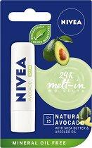 Nivea 24 Melt-in Moisture Avocado - SPF 15 - Балсам за устни с масло от авокадо - маска