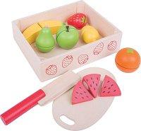 Плодове за рязане - Комплект дървени фигури за игра в щайга -
