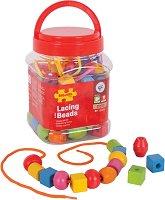 Мъниста в бурканче - Комплект от 90 броя мъниста и 5 връвчици за нанизване - играчка