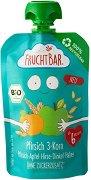 FruchtBar - Био пюре с праскова, ябълка и микс 3 зърна - Рециклируема опаковка от 100 g за бебета над 6 месеца -
