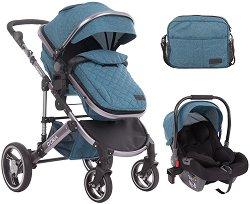 Бебешка количка 2 в 1 - D'ora - С 4 колела -