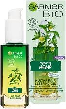 "Garnier Bio Hemp Multi-Repair Sleeping Oil - Възстановяващо нощно олио за лице с масло от коноп от серията ""Garnier Bio"" - серум"