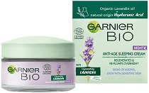 "Garnier Bio Lavandin Anti-Age Sleeping Cream - Био нощен крем за лице против стареене с лавандула от серията ""Garnier Bio"" -"