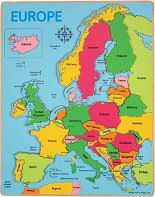 Карта на Европа - Дървен пъзел с едри елементи -