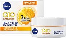 """Nivea Q10 Energy Healthy Glow Day Care - SPF 15 - Енергизиращ дневен крем за сияйна кожа от серията """"Q10 Energy"""" - балсам"""
