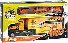 Строителни превозни средства - Детски комплект за игра с метални колички и хеликоптер -