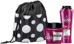 Подаръчен комплект с несесер - Gliss Ultimate Color - Шампоан и маска за боядисана коса -