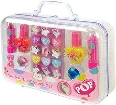 Детски комплект с гримове в куфарче - POP Girls Mini Beauty Case Set - четка