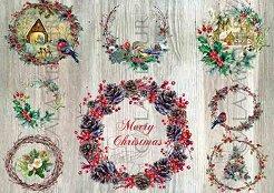 Декупажна хартия - Коледен венец 315