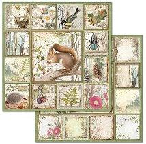 Хартия за скрапбукинг - Горски животни - Размери 30.5 x 30.5 cm