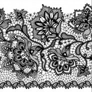 Салфетки за декупаж - Черна дантела на цветя - Пакет от 20 броя