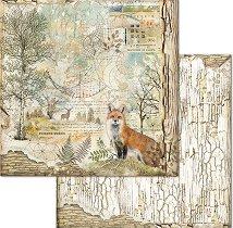 Хартия за скрапбукинг - Лисица и горски мотиви - Размери 30.5 x 30.5 cm