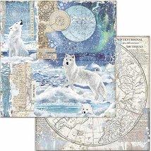 Хартия за скрапбукинг - Полярни животни - Размери 30.5 x 30.5 cm