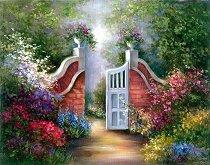 Рисуване по номера с акрилни бои - Градина - Комплект за картина с размери 23 x 30 cm