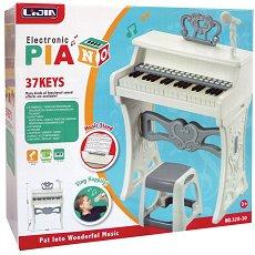 Пиано с микрофон и столче - Детски музикален инструмент -