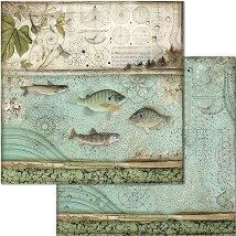 Хартия за скрапбукинг - Риби - Размери 30.5 x 30.5 cm