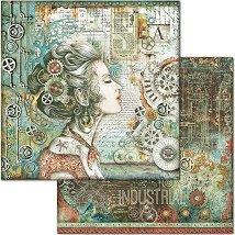 Хартия за скрапбукинг - Жена и часовникови механизми - Размери 30.5 x 30.5 cm