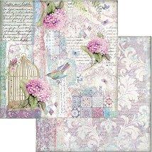 Хартия за скрапбукинг - Клетка и птица - Размери 30.5 x 30.5 cm