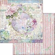 Хартия за скрапбукинг - Цветя и пеперуда - Размери 30.5 x 30.5 cm
