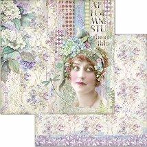 Хартия за скрапбукинг - Жена и цветя - Размери 30.5 x 30.5 cm