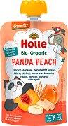 Holle - Био забавна плодова закуска с праскови, кайсии, банани и спелта - Опаковка от 100 g за бебета над 8 месеца -