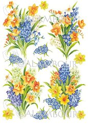 Декупажна хартия - Букет цветя 59 - Размери 33 x 48 cm