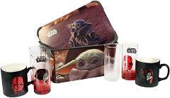 """Кутия за съхранение - Baby Yoda - В комплект с 4 чаши от серията """"Star Wars:The Mandalorian"""" - макет"""