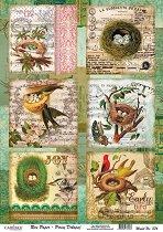 Декупажна хартия - Птичи гнезда