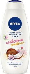 Nivea Welcome Sunshine 2 in 1 Shower & Bath - Душ гел и пяна за вана с аромат на кокос - серум