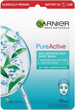 Garnier Pure Active Sheet Mask - Хартиена маска за лице за мазна и проблемна кожа -