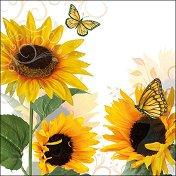 Салфетки за декупаж - Слънчогледови пеперуди