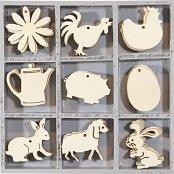 Дървени  фигурки - Ферма - Комплект от 45 броя в кутия