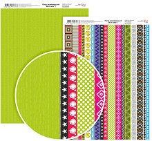 Двустранен картон за скрапбукинг - Цветни фризове