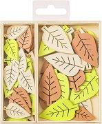 Дървени фигурки - Листа - Комплект от 54 броя в кутия