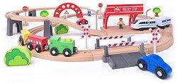 Влакова композиция - Градска линия - Детски дървен комплект за игра -