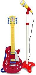 Електрическа китара с колан и микрофон - Детски комплект за игра -