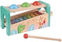 Ксилофон с чукче и топки - Музикален свят - Детски дървен музикален инструмент -