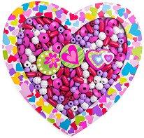 Дървени мъниста в кутия - Шарено сърце - В комплект с връзки и аксесоари за нанизване  -