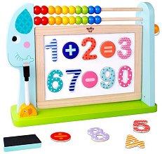 Двустранна магнитна дъска - Слонче - Детски образователен комплект със сметало и аксесоари -