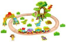 Влакова композиция - Джурасик парк - Детски дървен комплект за игра с аксесоари -