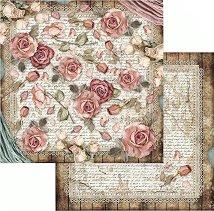 Хартия за скрапбукинг - Рози и дантела