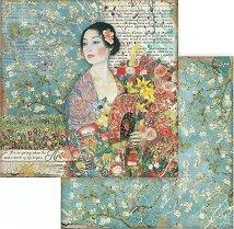 Хартия за скрапбукинг - Дамата с ветрилото