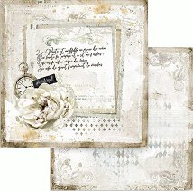Хартия за скрапбукинг - Писмо и часовник