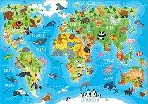 Световна карта с животни - пъзел