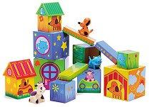 Къщички за животни - Комплект кубчета и животни  - играчка