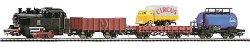 Влак с парен локомотив, три вагона и камион - ЖП комплект с релси - макет