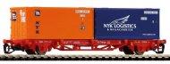 Товарен вагон с два контейнера - Lgs 579 - ЖП модел -